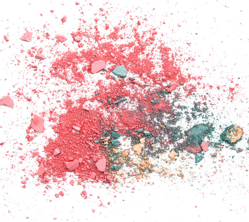 Colorful broken make up eyeshadow on white royalty free stock photo