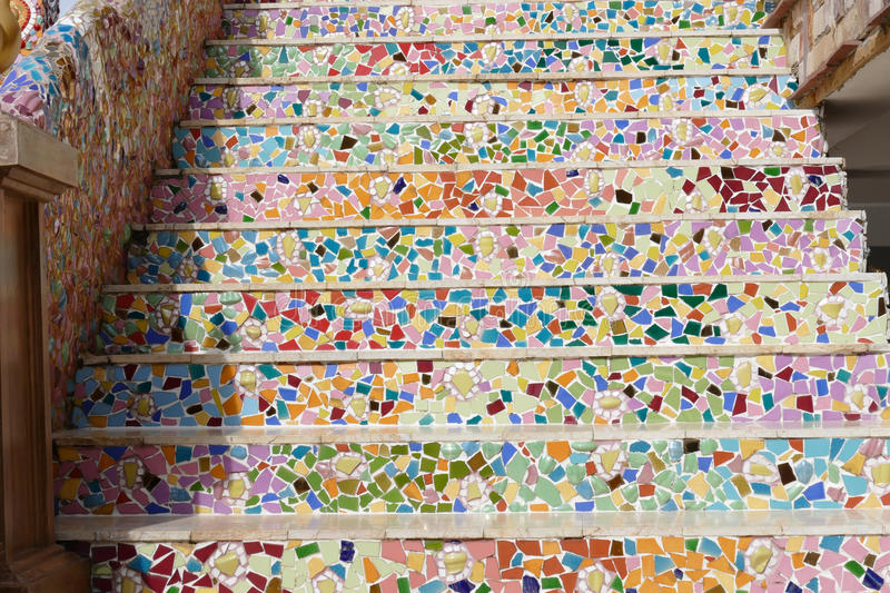 Download The Colorful Broken Tile, And Stone Decorating On Temple Stair  Stock Image   Image