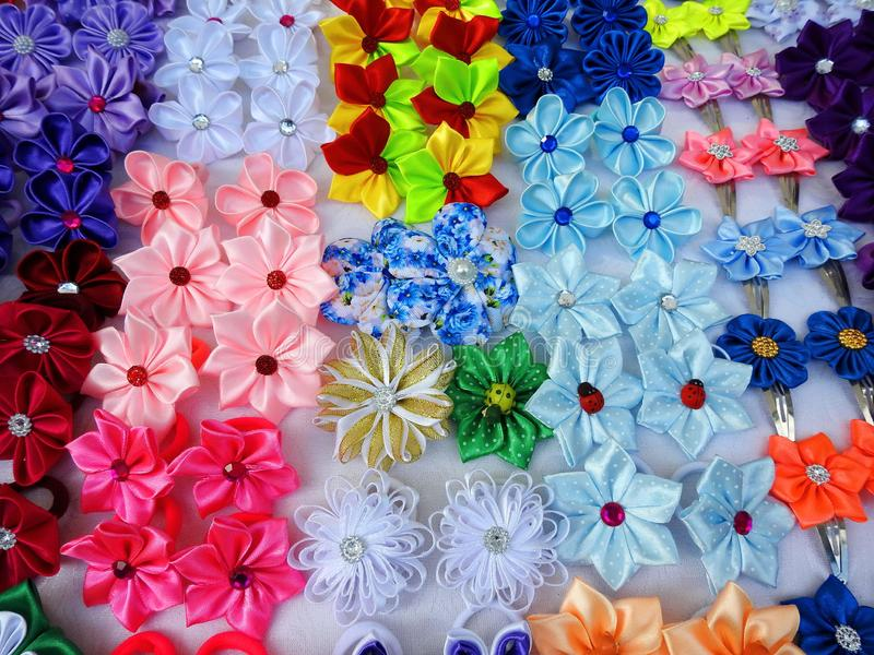Colorful brooch on street sale, Lithuania royalty free stock photography