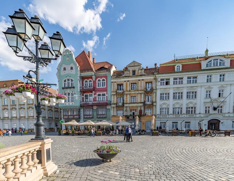 Colorful Bruck House Façade in Union Square Timisoara, Romania. In Summer stock photo