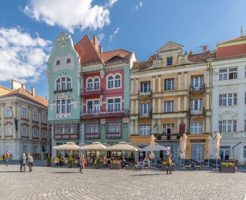 Colorful Bruck House Façade in Union Square Timisoara, Romania. During Summer stock photo