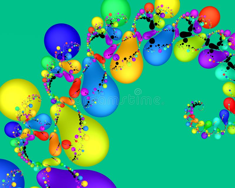 Colorful bubbles fantasy fractal flowery abstract geometries, vivid texture stock illustration