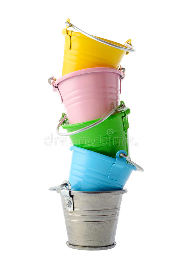 Free Colorful Buckets Royalty Free Stock Images - 57910039