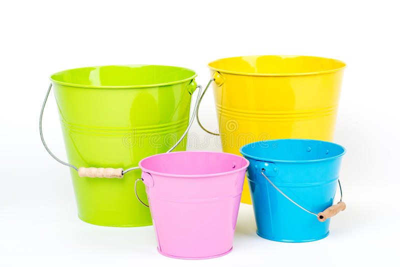 Colorful buckets/pails. stock image