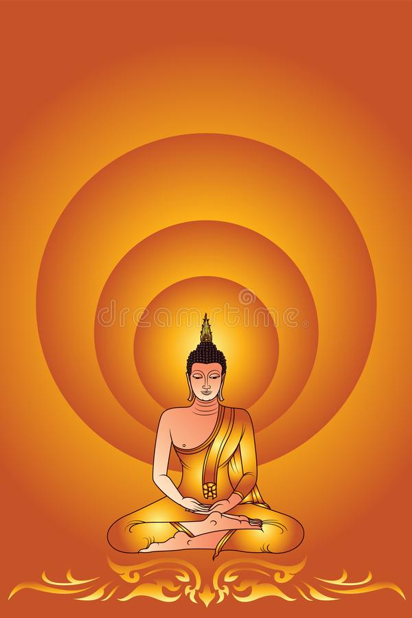 Colorful Buddha Siddhartha Gautama with glowing light royalty free illustration