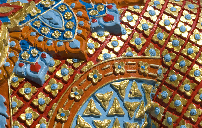 Colorful Buddhist ornament in Wat Samret temple royalty free stock image