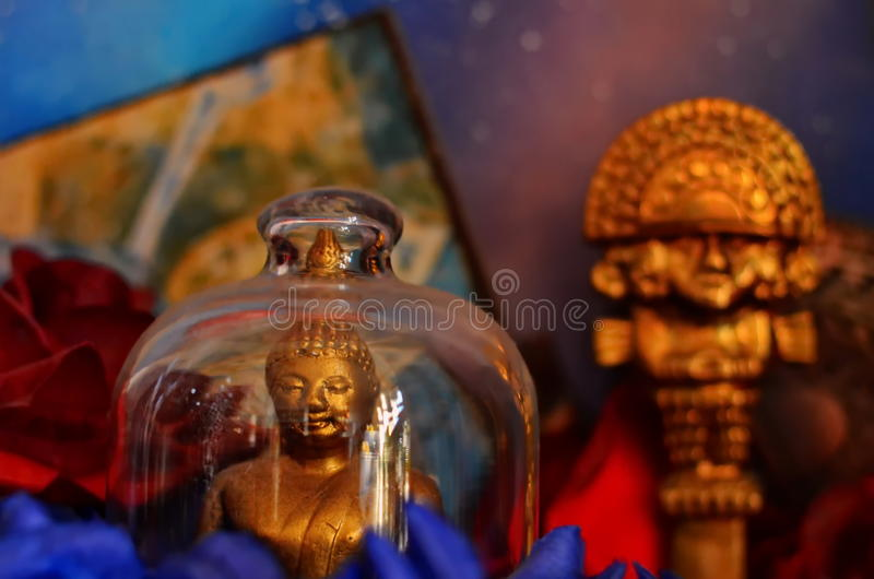 Colorful Buddhist statues stock photos