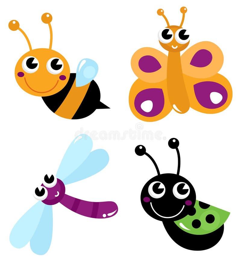 Cute little cartoon bugs stock illustration