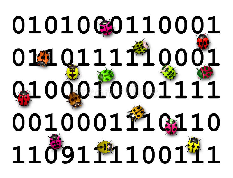 Colorful bugs running over digital code stock photo