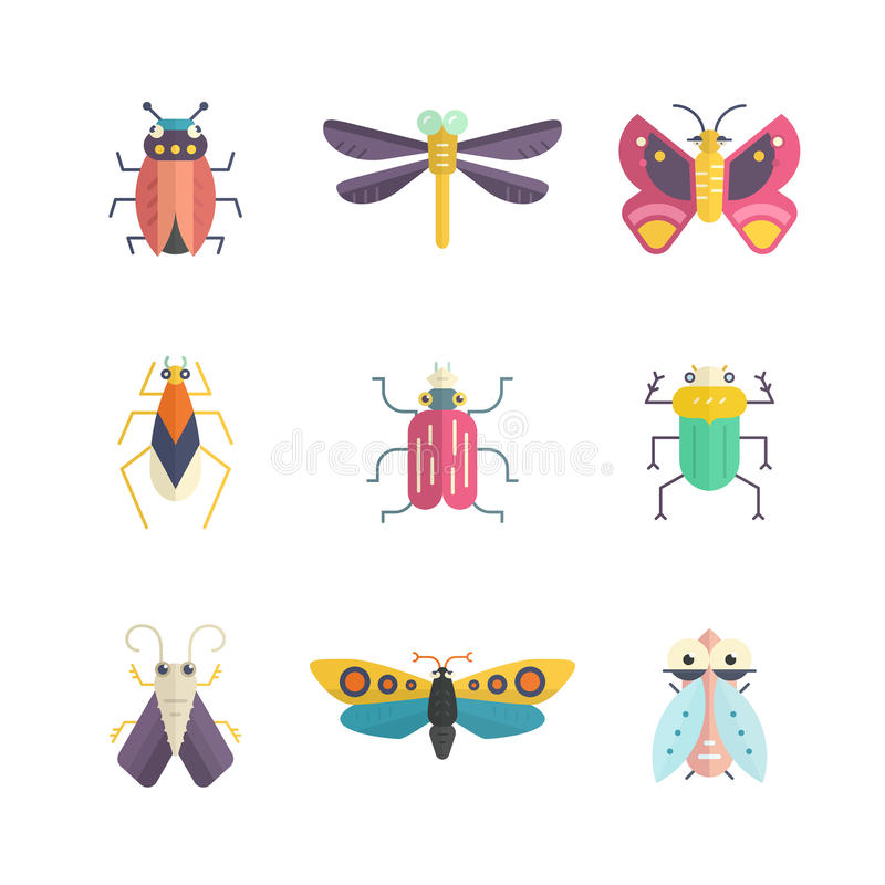 Colorful Bugs. Vector collection of insects made in modern flat style. Colorful bugs for your design. Nature elements made in royalty free illustration