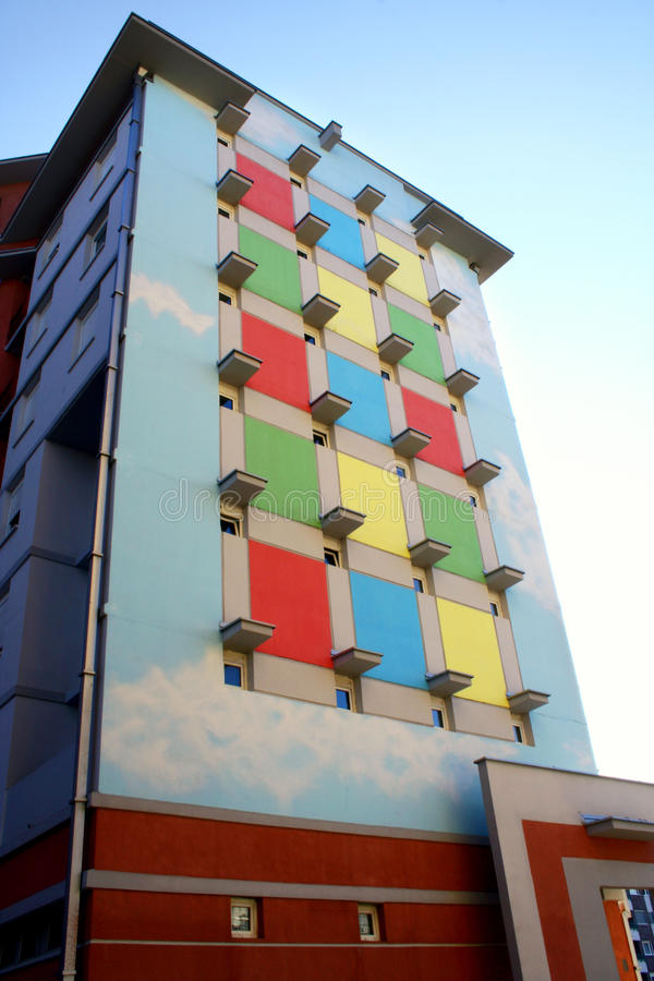 Colorful building. Interesting colorful building with blue sky royalty free stock photo