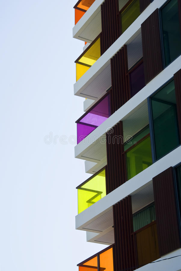 Colorful building. Interesting colorful building with blue sky stock photos