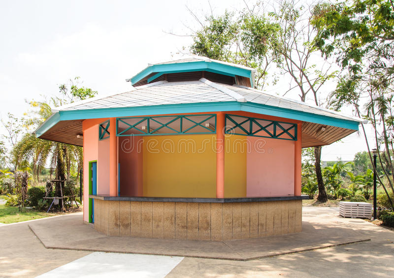 Colorful building. For visitor center in the urban park stock photo