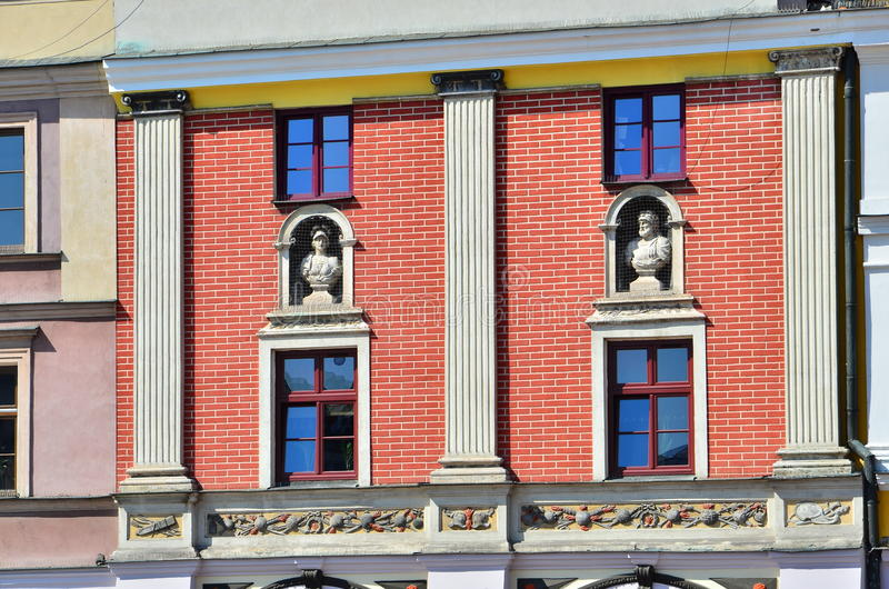 Colorful building exterior. Colorful facade of building in Zamosc, Poland royalty free stock photography