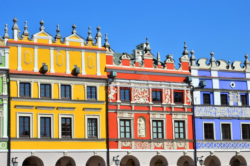 Colorful building exterior. Colorful facade of building in Zamosc, Poland stock image