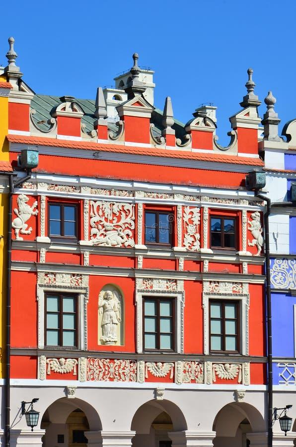 Colorful building exterior. Colorful facade of building in Zamosc, Poland stock photos