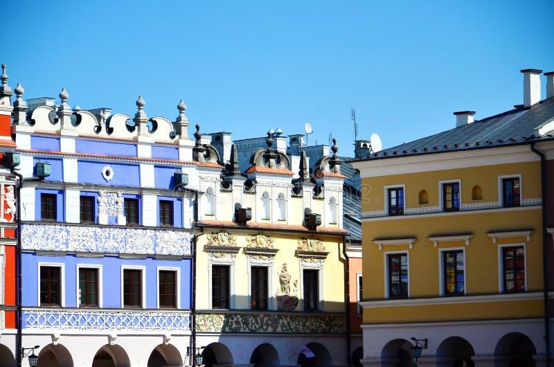 Colorful building exterior. Colorful facade of building in Zamosc, Poland royalty free stock photos