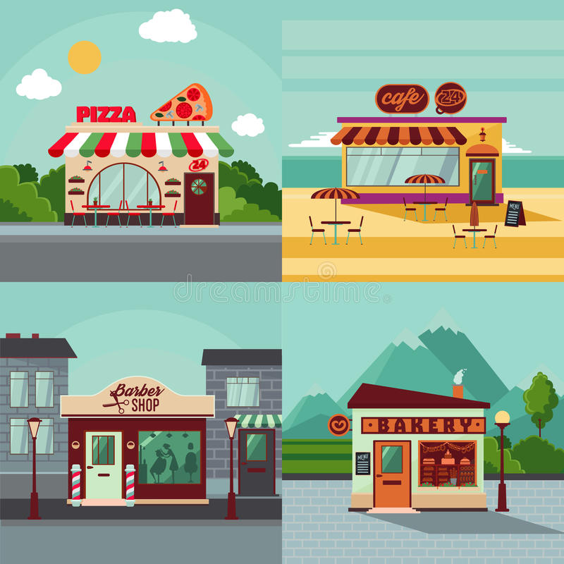 Colorful Building Facades Square Concept. With italian restaurant cafe barber shop and bakery vector illustration vector illustration