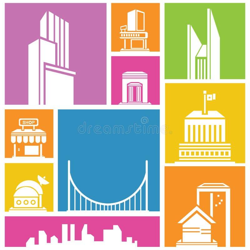 Download Colorful building set stock illustration. Illustration of metropolis - 36839037
