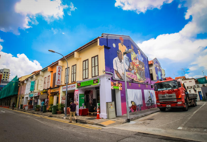 Colorful building. SINGAPORE-AUGUST 31:Colorful facade of building in Little India, Singapore on August 31,2016. Little India is an ethnic neighborhood in royalty free stock photography