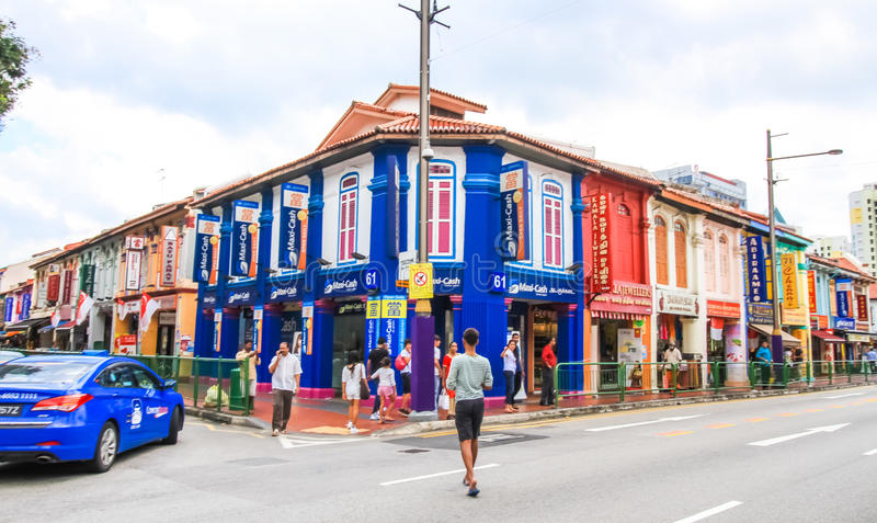 Colorful building. SINGAPORE-AUGUST 31:Colorful facade of building in Little India, Singapore on August 31,2016. Little India is an ethnic neighborhood in stock image