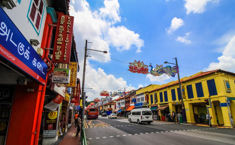 Colorful building. SINGAPORE-AUGUST 31:Colorful facade of building in Little India, Singapore on August 31,2016. Little India is an ethnic neighborhood in royalty free stock photos