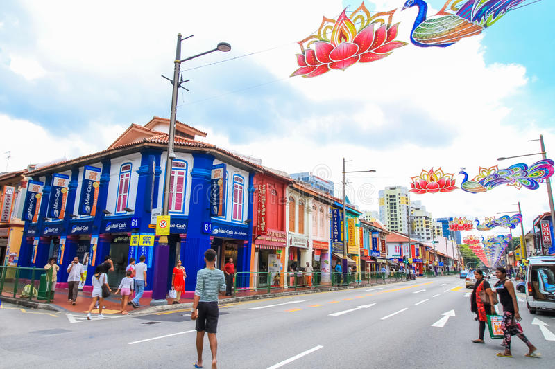 Colorful building. SINGAPORE-AUGUST 31:Colorful facade of building in Little India, Singapore on August 31,2016. Little India is an ethnic neighborhood in stock photography
