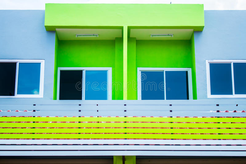 Colorful building in thailand. For open shop store orrun business in the market stock photo