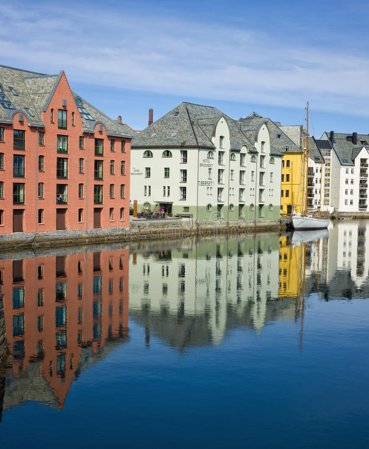 Colorful Buildings: Colorful Buildings, Alesund, Norway Editorial Stock Image