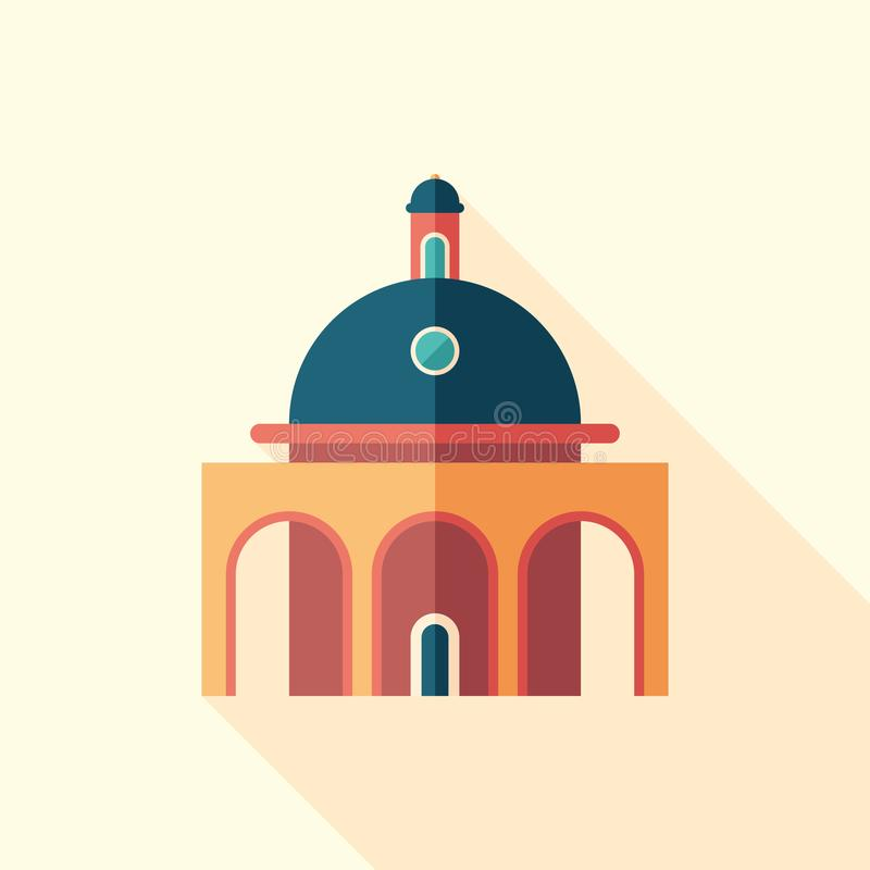Planetarium flat square icon with long shadows. vector illustration