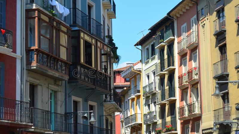 Colorful buildings and balconies along the Streets of Pamplona, royalty free stock images