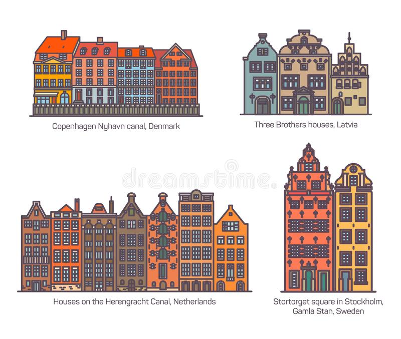 Colorful buildings on canal, square of europe. Colorful buildings of europe. Copenhagen Nyhavn canal and Three Brothers Houses, Herengracht Canal and Stortorget royalty free illustration