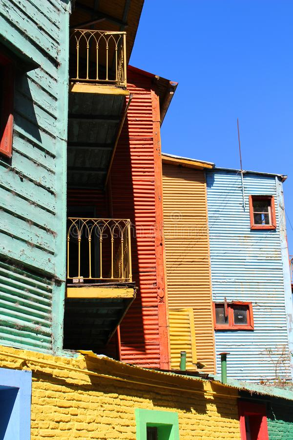 Colorful buildings in El Caminito La Boca Buenos Aires. Colorful buildings along the street of El Caminito located in La Boca in Buenos Aires, Argentina in South royalty free stock images