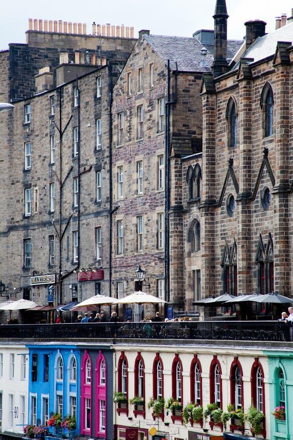 Colorful buildings of Grassmarket, Edinburgh stock photos