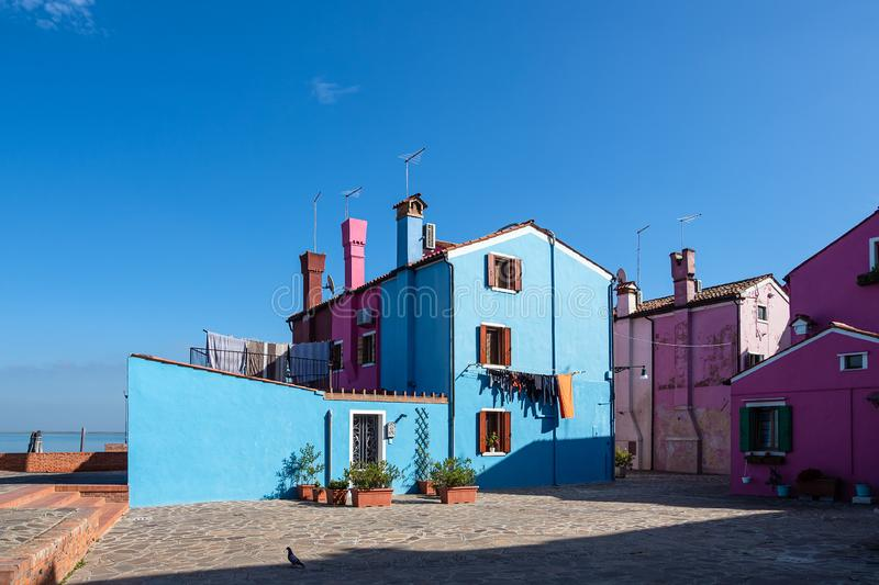 Colorful buildings on the island Burano near Venice, Italy.  stock image