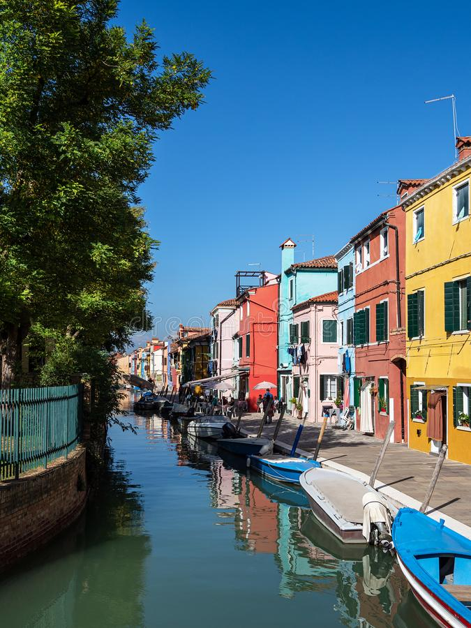 Colorful buildings on the island Burano near Venice, Italy.  royalty free stock image