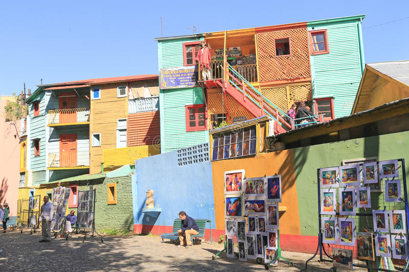 Colorful buildings, La Boca in Buenos Aires royalty free stock images