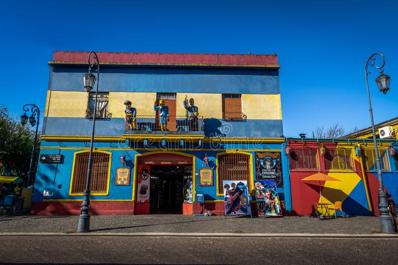 Colorful buildings at La Boca neighborhood - Buenos Aires, Argentina stock photos