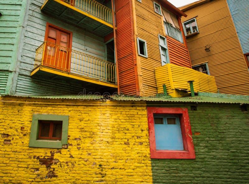 Colorful buildings la boca. Street view of the neighborhood of la boca argentina stock photo