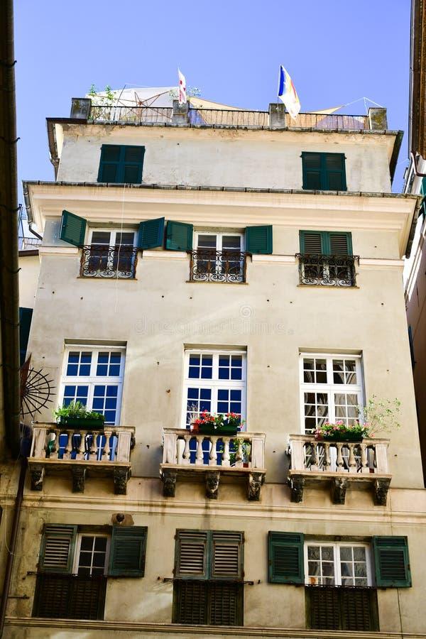 Le Strade Nuove Genoa , Italy. Colorful buildings at Le Strade Nuove in Genoa , Italy, guria region stock image