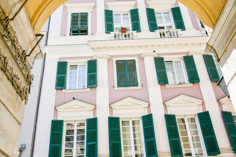 Le Strade Nuove Genoa , Italy. Colorful buildings at Le Strade Nuove in Genoa , Italy, Liguria region stock image