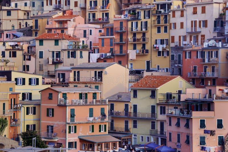 Colorful buildings of Manarola, Italy royalty free stock photos