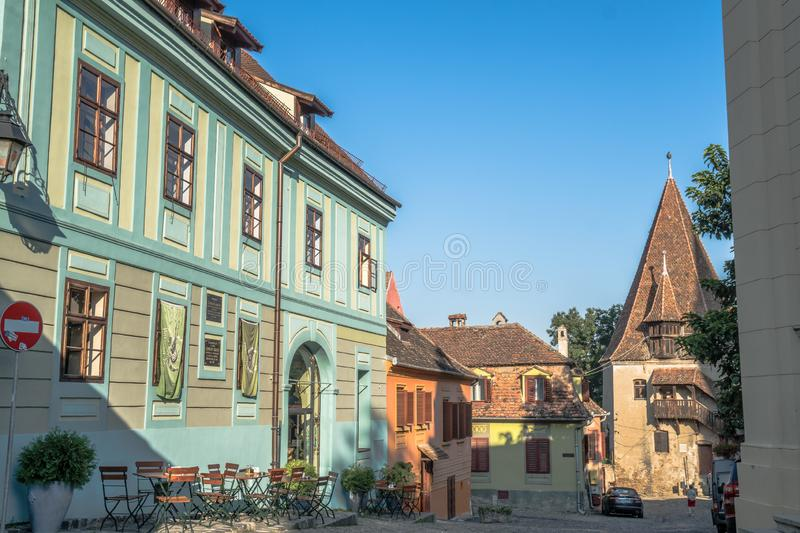Colorful buildings in medieval old town center Sighisoara Romania. royalty free stock images