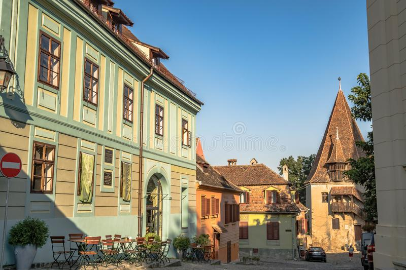 Colorful buildings in medieval old town center Sighisoara Romania. royalty free stock image
