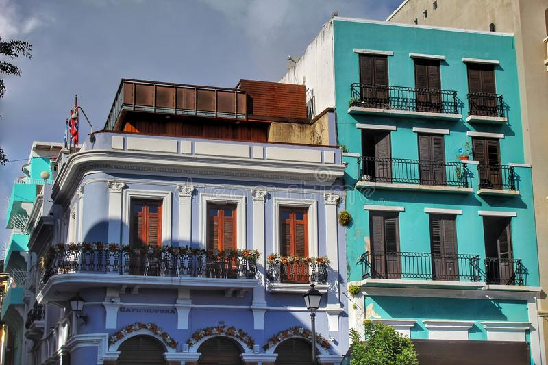 Colorful buildings at Old San Juan stock photos