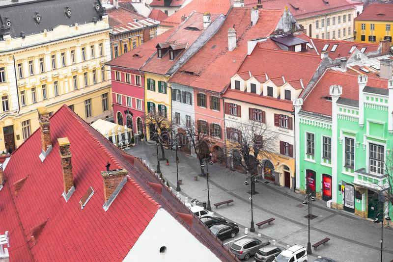 Colorful buildings in old town Sibiu, Romania royalty free stock photo