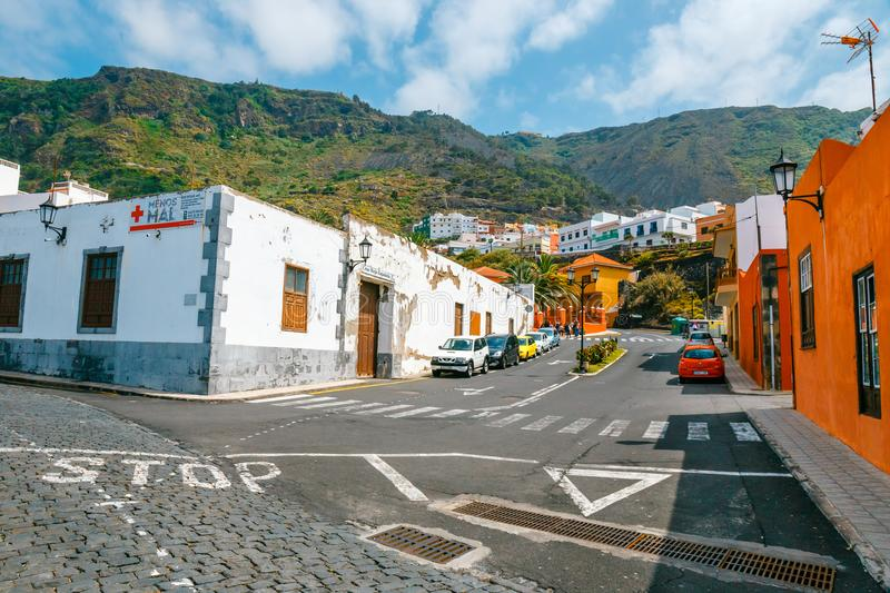 Colorful buildings on the streets of Garachico, Tenerife, Canary Islands, Spain. Garachico, Tenerife, June 08, 2015: Colorful buildings on the streets of stock photography