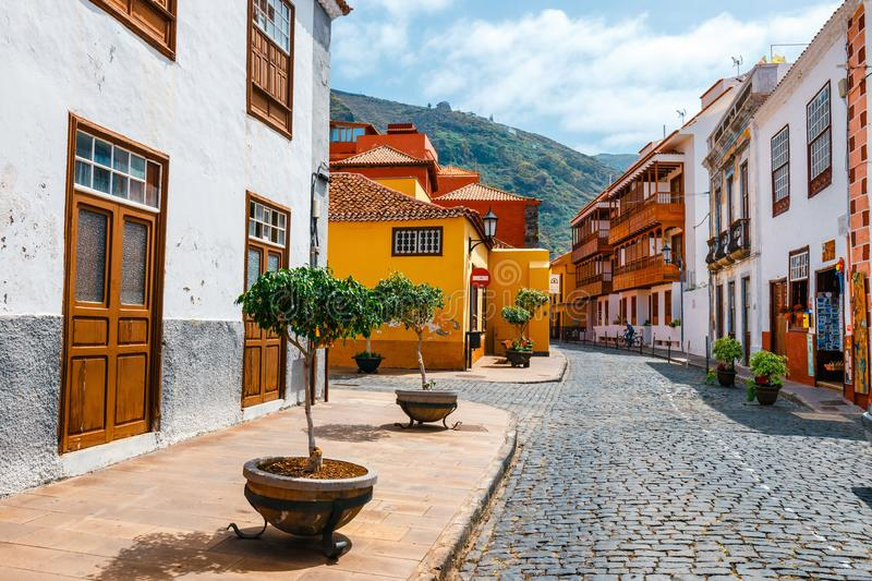 Colorful buildings on the streets of Garachico, Tenerife, Canary Islands, Spain. Tenerife, Spain, June 08, 2015: Colorful buildings on the streets of Garachico stock image