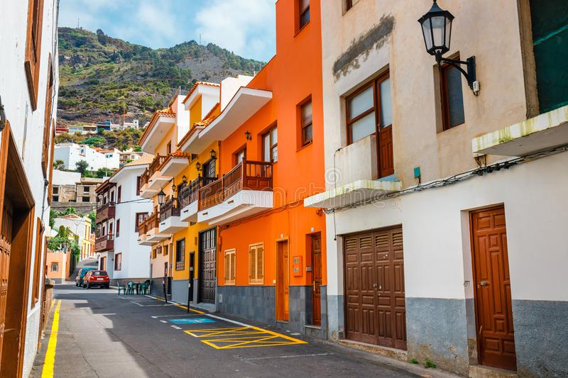 Colorful buildings on the streets of Garachico, Tenerife, Spain. Colorful buildings on the streets of Garachico, Tenerife, Canary Islands, Spain stock images