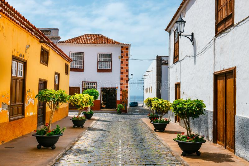 Colorful buildings on the streets of Garachico, Tenerife, Spain. Colorful buildings on the streets of Garachico, Tenerife, Canary Islands, Spain royalty free stock photo
